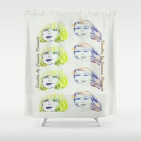 blondie Shower Curtains featuring Blondie and Ginger by OoodlesOfDooodles