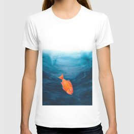 A lonely red fish in the deep sea T-shirt