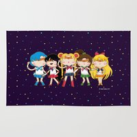 sailormoon Area & Throw Rugs featuring Sailors by suupergirl