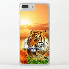 Tiger and Sunset Clear iPhone Case