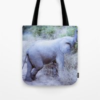 baby elephant Tote Bags featuring Baby Elephant by Mary Grace