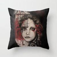 inner demons Throw Pillows featuring INNER DEMONS by Sheena Pike Art & Illustration