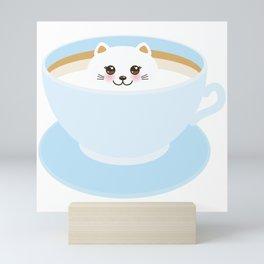 Cute Kawai cat in blue cup Mini Art Print