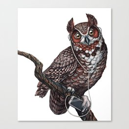 Great Horned Owl with Headphones Canvas Print