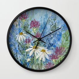 Wildflower Blues Garden Flower Acrylic Art Wall Clock
