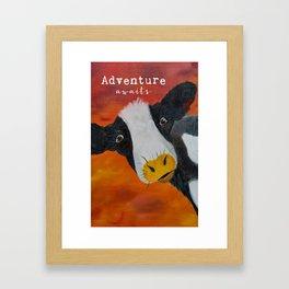 Adventure awaits with Irma the cow Framed Art Print