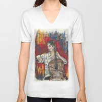 cello V-neck T-shirts featuring Cello 1 by Ed Rucker