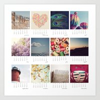 calendar Art Prints featuring 2013 calendar by shannonblue