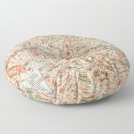 Vintage Map of Paris Floor Pillow
