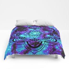 Mandala : Bright Violet & Teal Galaxy 2 Comforters