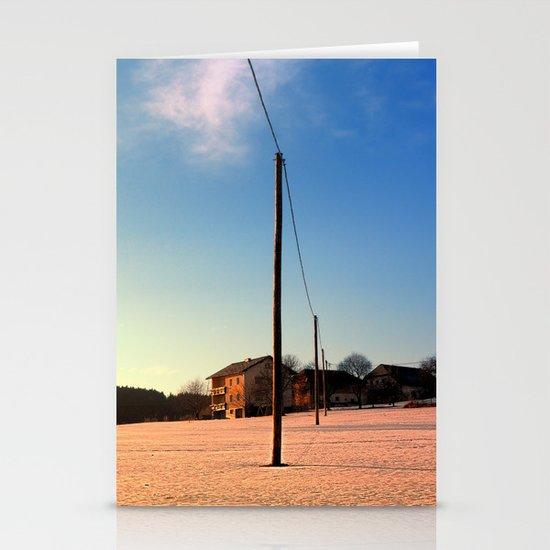 Powerline, sundown and winter wonderland | landscape photography Stationery Cards