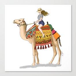 Woman on a Camel Canvas Print