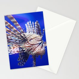 Grumpy Lion Fish in the Deep Blue Sea Stationery Cards
