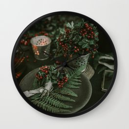Holly and Greens (Color) Wall Clock