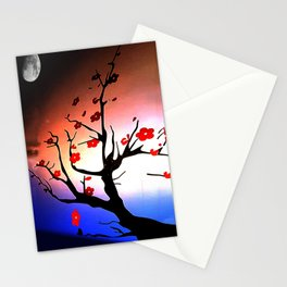 Japanese Maple Under Night Sky With Moon Stationery Cards