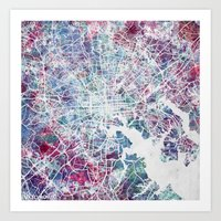 baltimore Art Prints featuring Baltimore by MapMapMaps.Watercolors