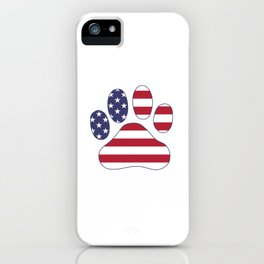 Patriotic Dog Paw Print for 4th of July iPhone Case