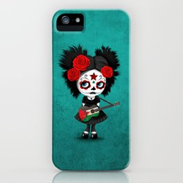 Day of the Dead Girl Playing Palestinian Flag Guitar iPhone Case