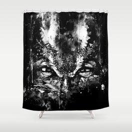 great horned owl bird close up wsbw Shower Curtain