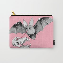 Skull Bat Pink Carry-All Pouch