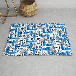 Gamer Lingo-White and Blue Rug