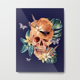Tropical Latin Skull With Straw Hat Monstera Leaves South American Floral Kingdom Metal Print