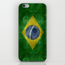 Vintage Brazilian flag with football (soccer ball) iPhone Skin