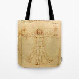 The Vitruvian Man 1405 (L Uomo Vitruviano) Leonardo da Vinci Artwork for Prints Posters Tshirts Men Tote Bag