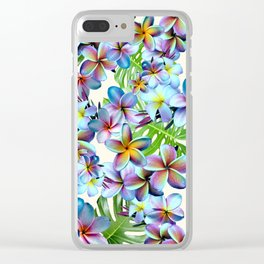Rainbow Plumeria Pattern Clear iPhone Case