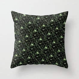 Cryptid Pattern: Green Lines Throw Pillow