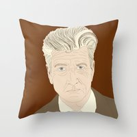 lynch Throw Pillows featuring LYNCH by Itxaso Beistegui Illustrations