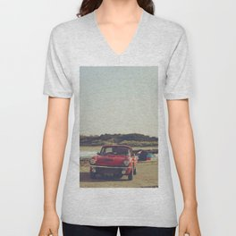Triumph Spitfire by the sea, with ship, fine art photo, british car, sports car, color, high definit Unisex V-Neck