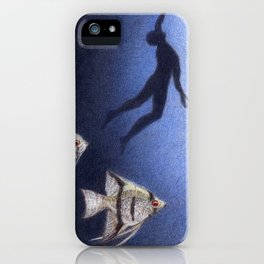 Blue by Lars Furtwaengler | Colored Pencil | 2012 iPhone Case
