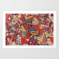 comic book Art Prints featuring Spiderman comic book collage by vanityfacade