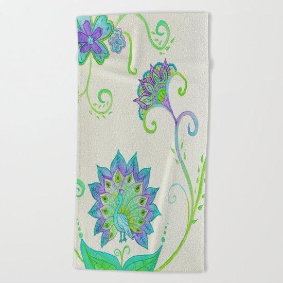 Peacocks & Paisley (1) Beach Towel