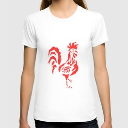 Cock a doodle doo, red cockerel rooster bird screen print T-shirt