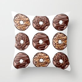 Chocolate Donuts Pattern Throw Pillow