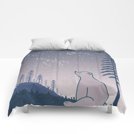 Bear and Constellations navy blue Comforters