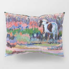 Chincoteague Pony, a colorful landscape of a wild horse in the dunes on the beach in Virginia. Pillow Sham