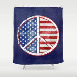 Watercolor Patriot Peace Symbol Stars and Stripes USA Flag Shower Curtain