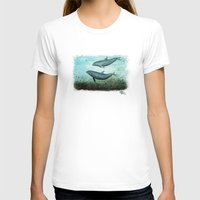 dolphins T-shirts featuring Two Inshore Dolphins ~ Watercolor by Amber Marine