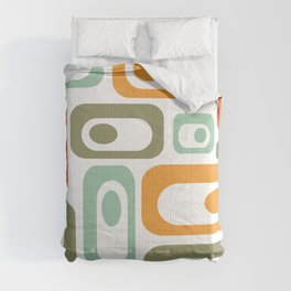 Mid-Century Modern Retro Utopia: Cheerful Minimalist Pattern in Celadon, Olive, Orange, & White Comforters