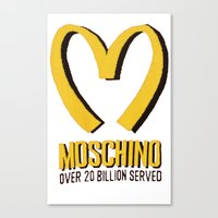 moschino Canvas Prints featuring MOSCHINO  by Claudio Velázquez