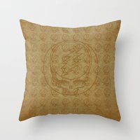 grateful dead Throw Pillows featuring Vintage Grateful Dead Steal Your Face Pattern by Studio 535