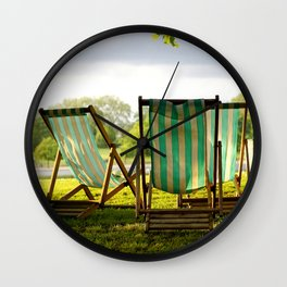{deck chairs in hyde park} Wall Clock