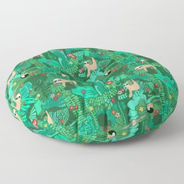 Sloths in the Emerald Jungle Pattern Floor Pillow