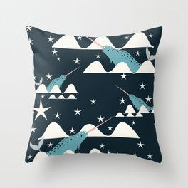 narwhal in ocean blue Throw Pillow