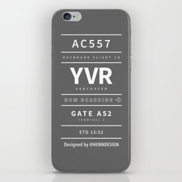 YVR grey iPhone Skin