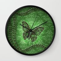 decorative Wall Clocks featuring Decorative butterfly by nicky2342