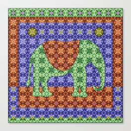 Colorful Tribal Elephant Canvas Print